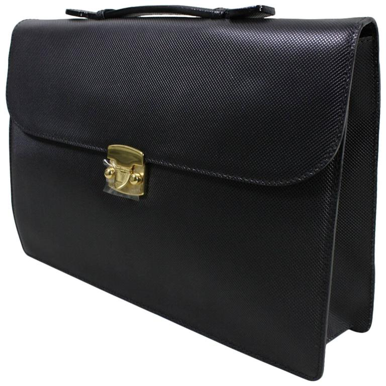 Bottega Veneta Black Leather Briefcase, 1990s  For Sale