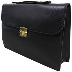 Bottega Veneta Black Leather Briefcase, 1990s