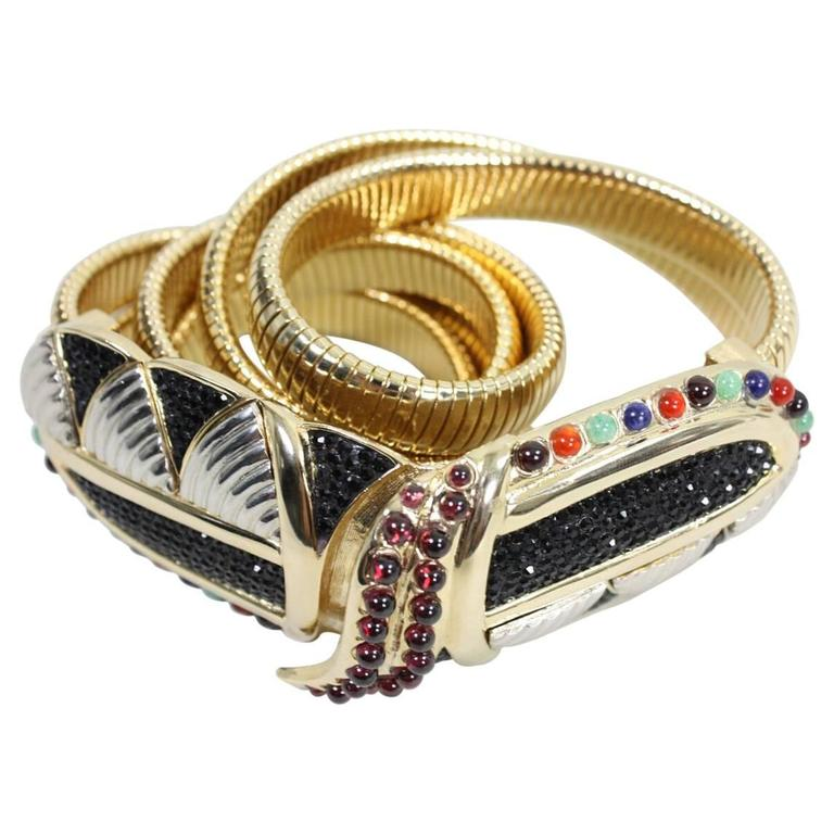 Judith Leiber Belt with Crystals and Cabochons For Sale