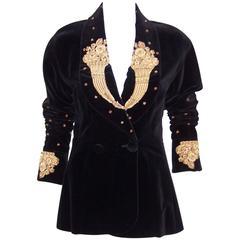1980's Karl Lagerfeld Black Velvet Jacket With Intricate Gold Braid & Beading