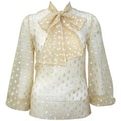 C.1970 Sheer Gold Lame Stock Tie Blouse