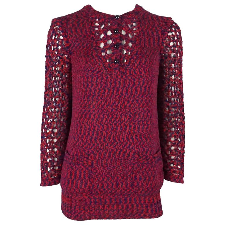 Chanel Blue and Red Cotton Knit Crochet Sweater - 40 For Sale