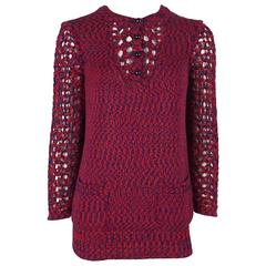 Chanel Blue and Red Cotton Knit Crochet Sweater - 40