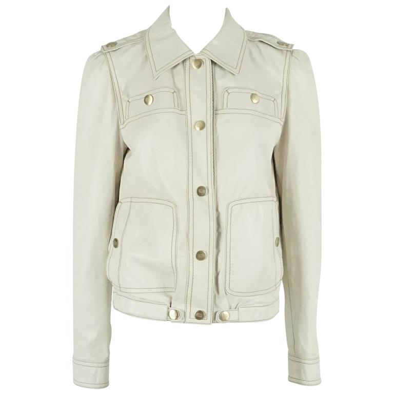 Gucci Ivory Leather Jacket - M