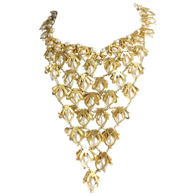 Miriam Haskell Pearl Bib Necklace For Sale