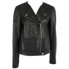 Chanel Black Leather Motorcycle Style Jacket - 40- SHW