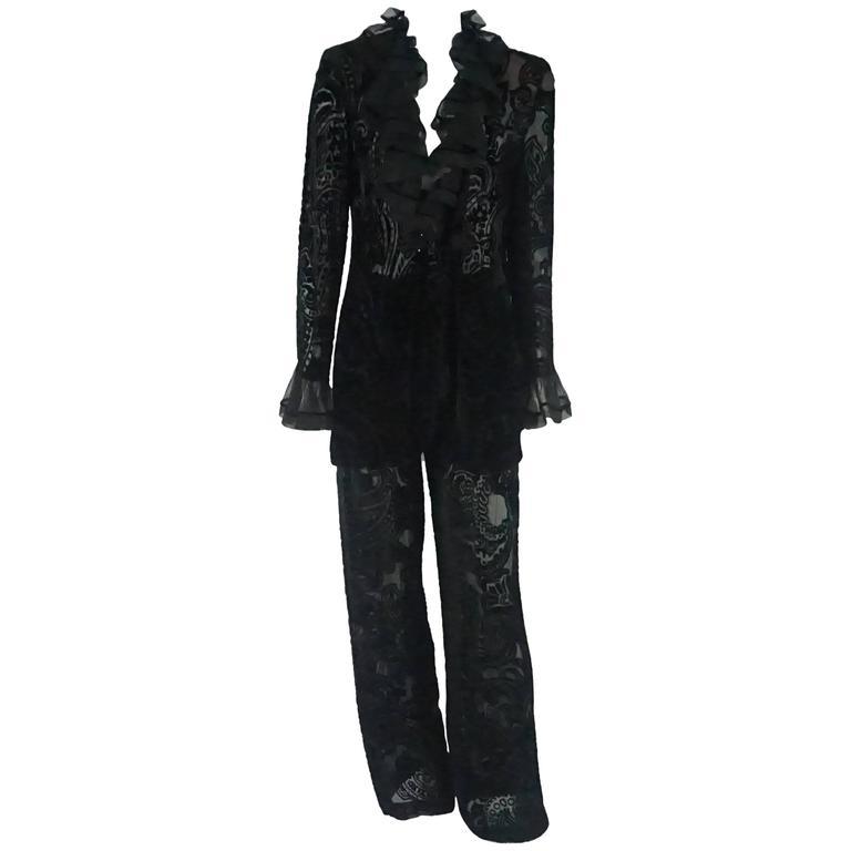 Emanuel Ungaro Black Cut Velvet Pant Suit with Ruffle Trim - 10 - 1980s