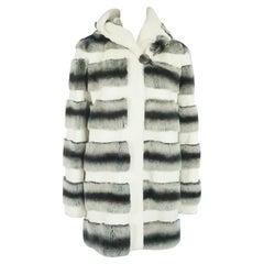 Unknown White, Gray, and Black Striped Rabbit 3/4 Coat - M