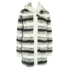 Unknown White, Gray, and Black Striped Rabbit 3/4 Coat - M