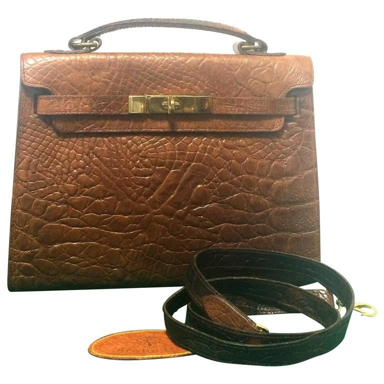 Mulberry Vintage Mulberry Croc Embossed Brown Kelly Bag With Shoulder Strap. Roger Saul