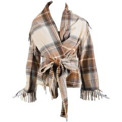 Alexander McQueen Runway Brown Tan Plaid Fringe Hem Shawl LS Jacket Size 38