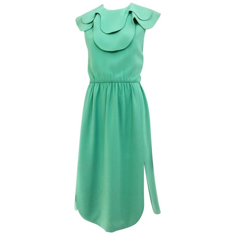 1960s DONALD BROOKS Seafoam Green Silk Dress 1