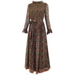 70s Treacy Lowe floral silk maxi dress