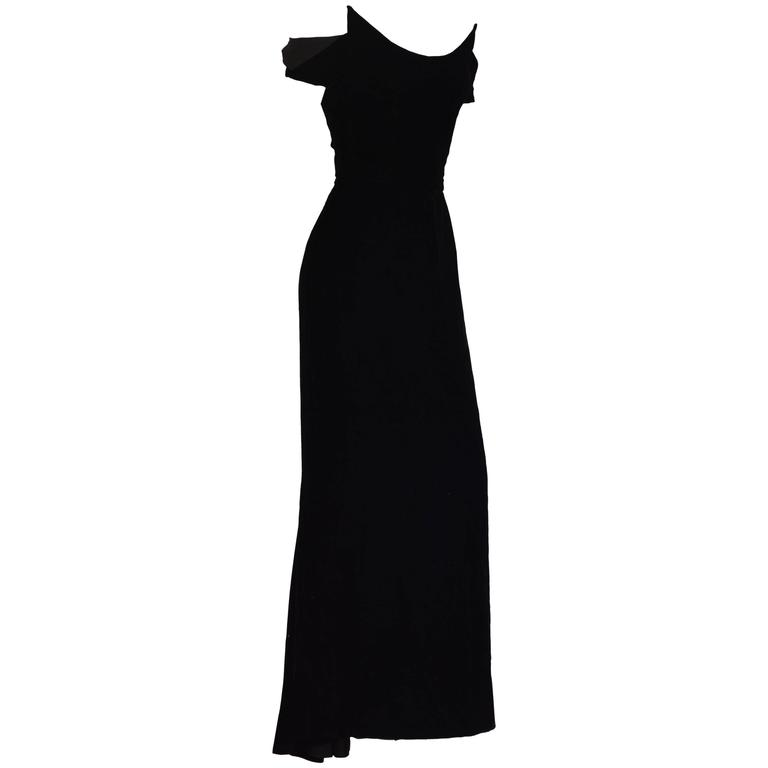 1990s Lanvin by Claude Montana Superb Deep Black Silk Velvet Gown 1