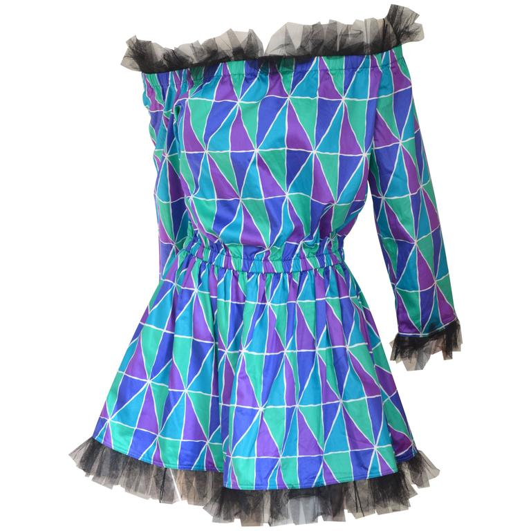 "Rare 1990s Yves Saint Laurent ""Arlequin"" Mini Dress 1"