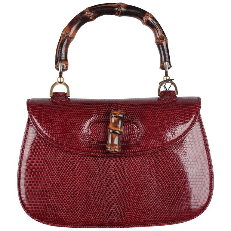 Gucci Vintage Rare Burgundy Lizard Bamboo Bag Top Handle