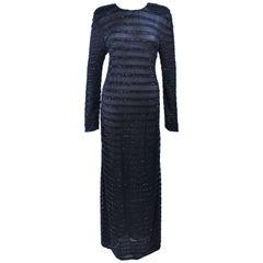 GIORGIO ARMANI Black Beaded Sheer Mesh Gown Size 42