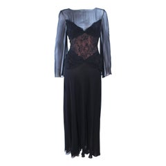 BILL BLASS Black Lace Chiffon Gown with Nude Underlay Size 10 12