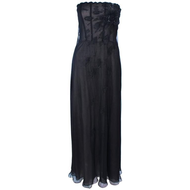 Custom Black Floral Beaded Applique Gown with Nude Size 2 For Sale ...