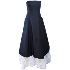 SAM CARLIN Black Silk Gown with White Sequin Lace Accents Size 6