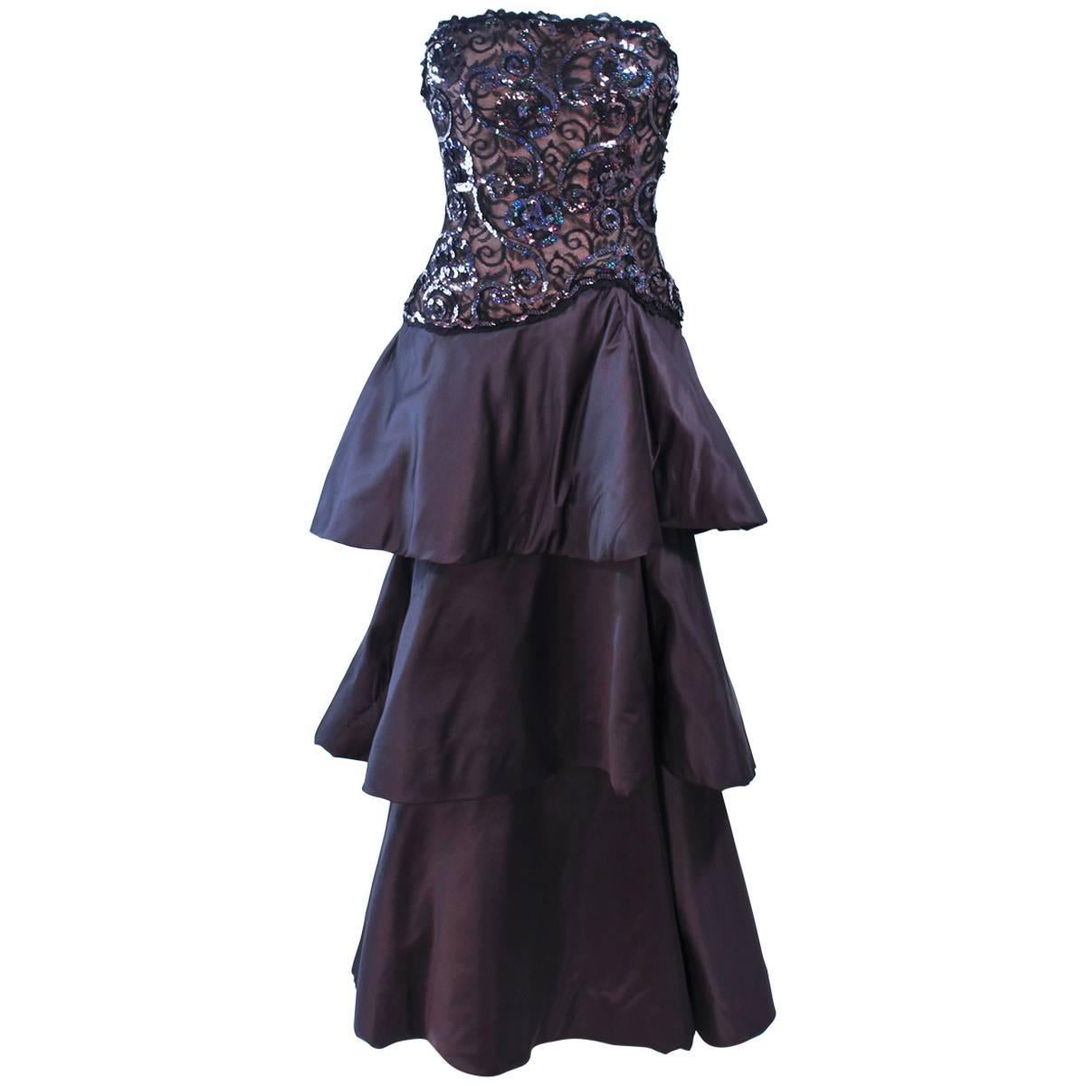 SCAASI 1980s Black & Gunmetal Lace Iridescent Sequin Tiered Gown Size  4 6
