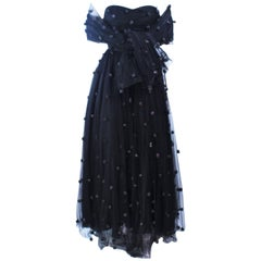 PAMELA DENNIS Attributed Black Mesh Gown with Rose Applique & Wrap Size 2 4