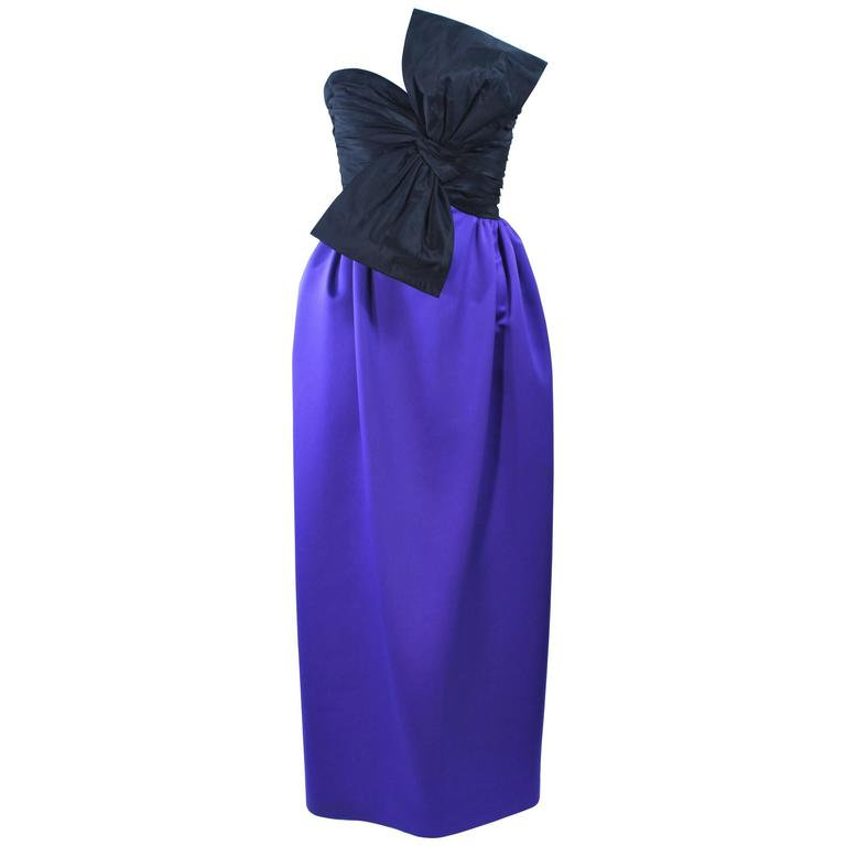 JILL RICHARDS Black and Purple Satin Gown with Bow Applique Size 4 6 1