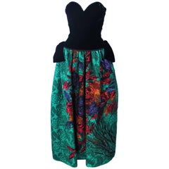 ODICINI COUTURE Black Velvet and Green Floral Gown Size 4