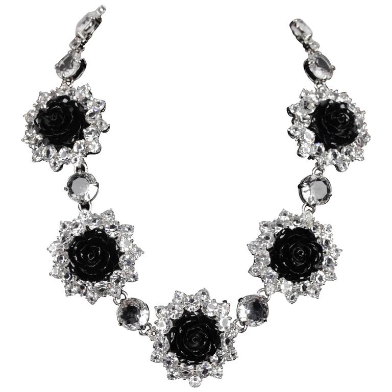 PRADA Silver Metal RHINESTONES Black Resin Rose NECKLACE w ...