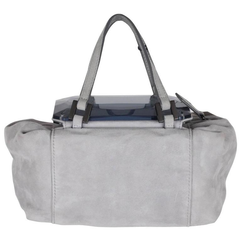 FENDI Gray Grey Suede TO YOU BAG Mini Duffle MIRRORED Handbag For Sale
