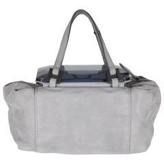 FENDI Gray Grey Suede TO YOU BAG Mini Duffle MIRRORED Handbag