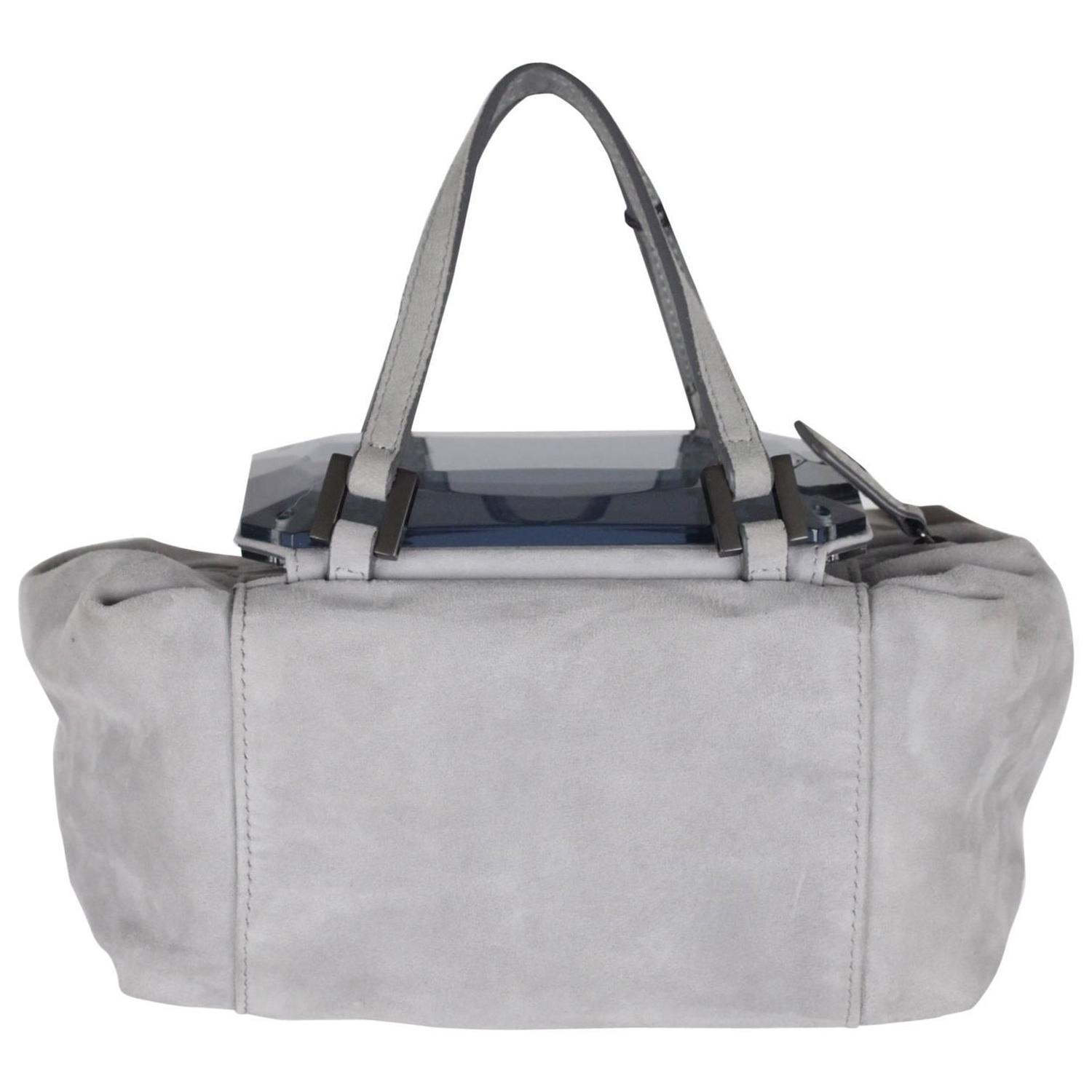 4beb3f0ec2 ... sweden fendi gray grey suede to you bag mini duffle mirrored handbag  for sale at 1stdibs real pre owned ...