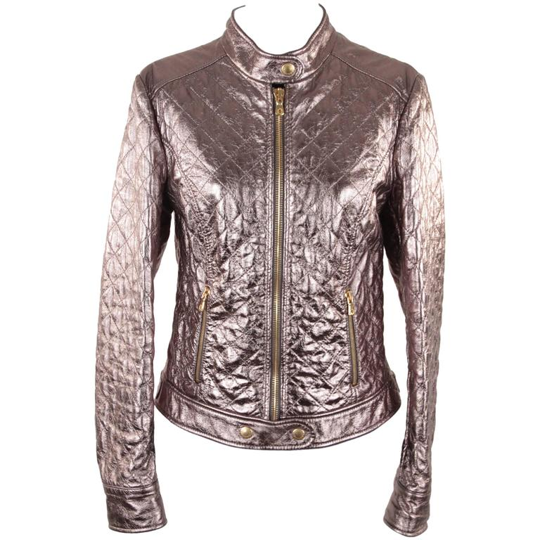 DOLCE & GABBANA Metallic Silver Leather Quilted Moto BIKER JACKET Size 42 1
