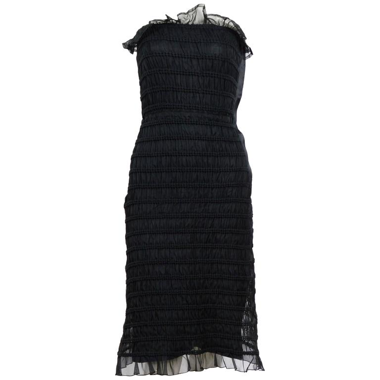 Vintage 60's COURREGES Black Silk Dress