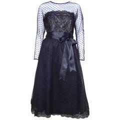 Classy & Classic C.1980 Victor Costa Black Lace Nude Illusion Dress