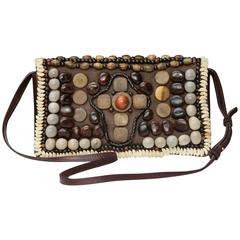 2000s Yves Saint Laurent Brown Suede and Wood Beads Handbag