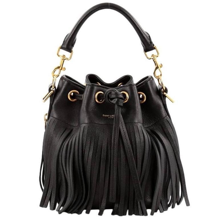 Saint Laurent Fringe Emmanuelle Bucket Bag Leather Small at 1stdibs 19db937932