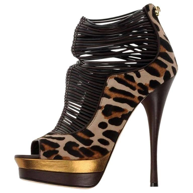 Versace Leopard-print calf hair Open Toe Platform Shoes Boots  For Sale