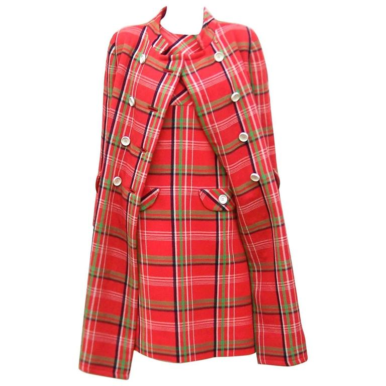 Mod 1960's John Baldwin Plaid Jumper Style Dress With Matching Coat For Sale