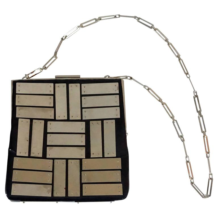 Pierre Cardin Square Black Patent with Silver Panels Shoulder Bag-SHW-60's For Sale