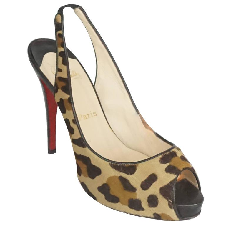 Christian Louboutin Animal Print Pony Hair Peeptoe Slingback - 42