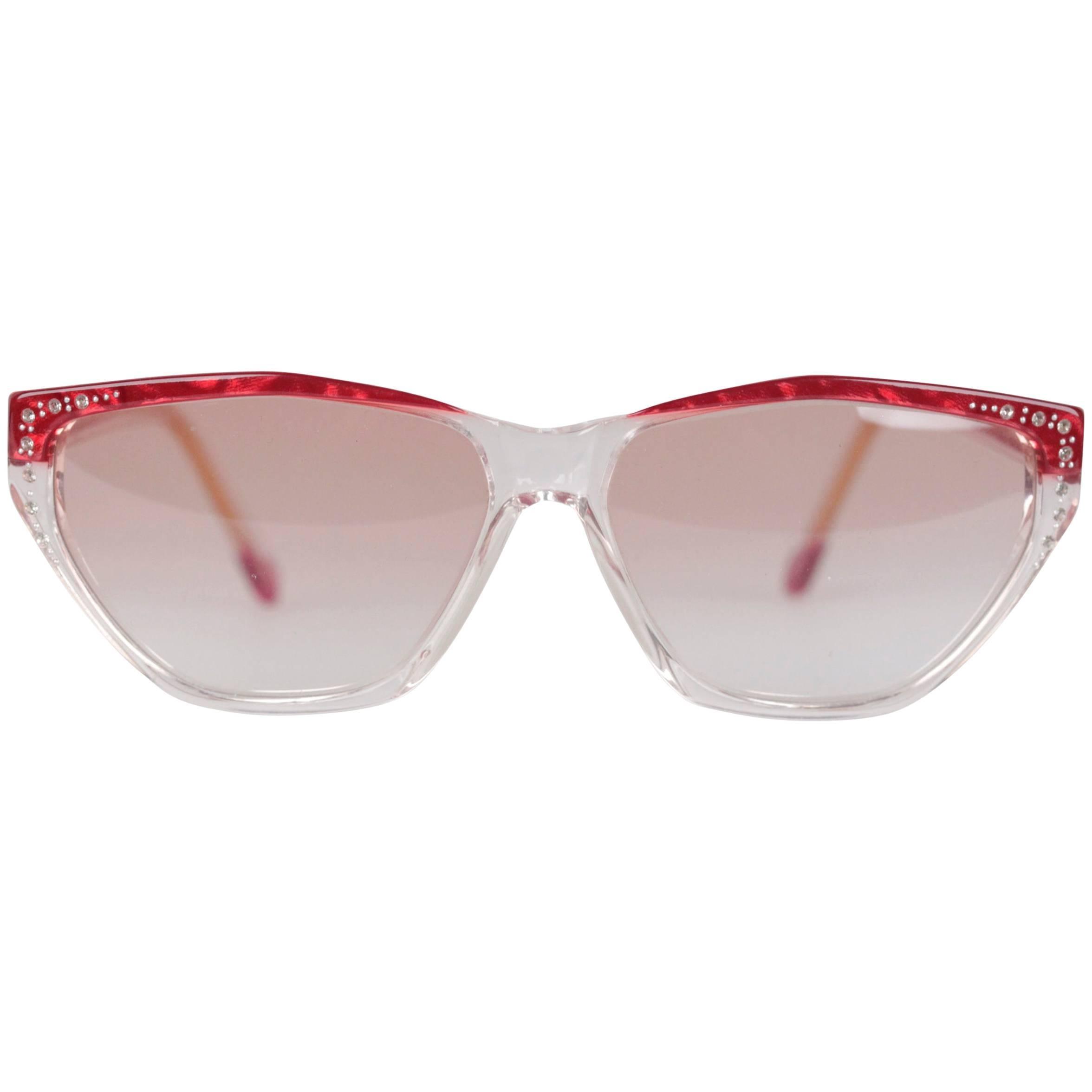 YVES SAINT LAURENT Vintage MINT Sunglasses HARPIES 60/13 w/RHINESTONES