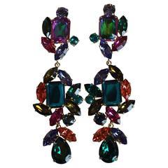 Philippe Ferrandis Multi Color Statement Clip Earrings