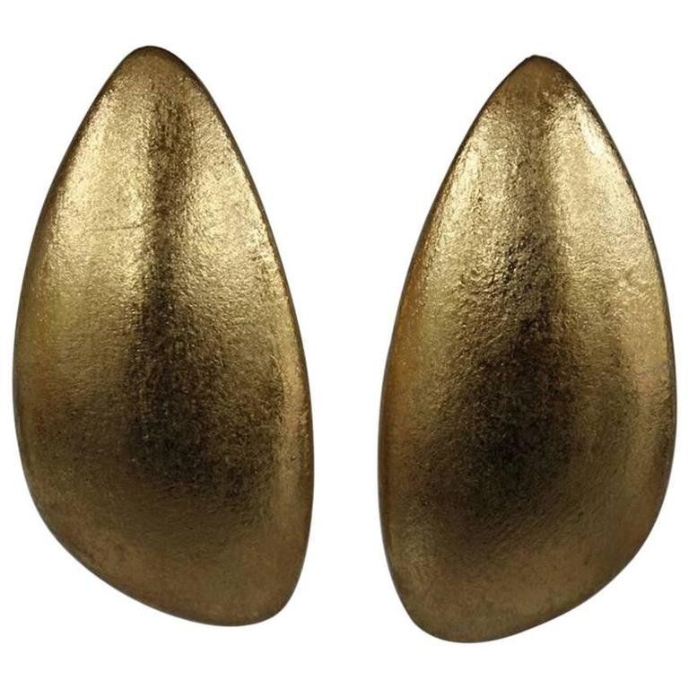 Monies Jewelry Gold Foil Clip Earrings For Sale