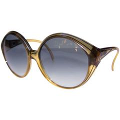 Oversized 1970's Christian Dior Optyl Sunglasses With Gradient Blue Lenses