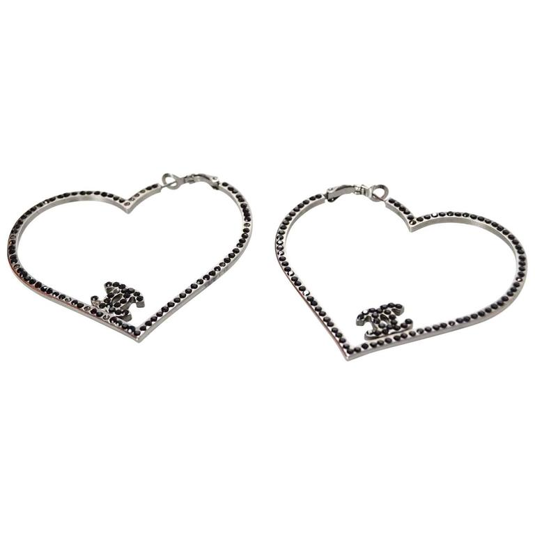 Chanel Black Crystal CC Heart Pierced Hoop Earrings 1