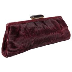 Dennis Basso Wine Colored Fur Clutch with Snake Trim and Crystal Clasp