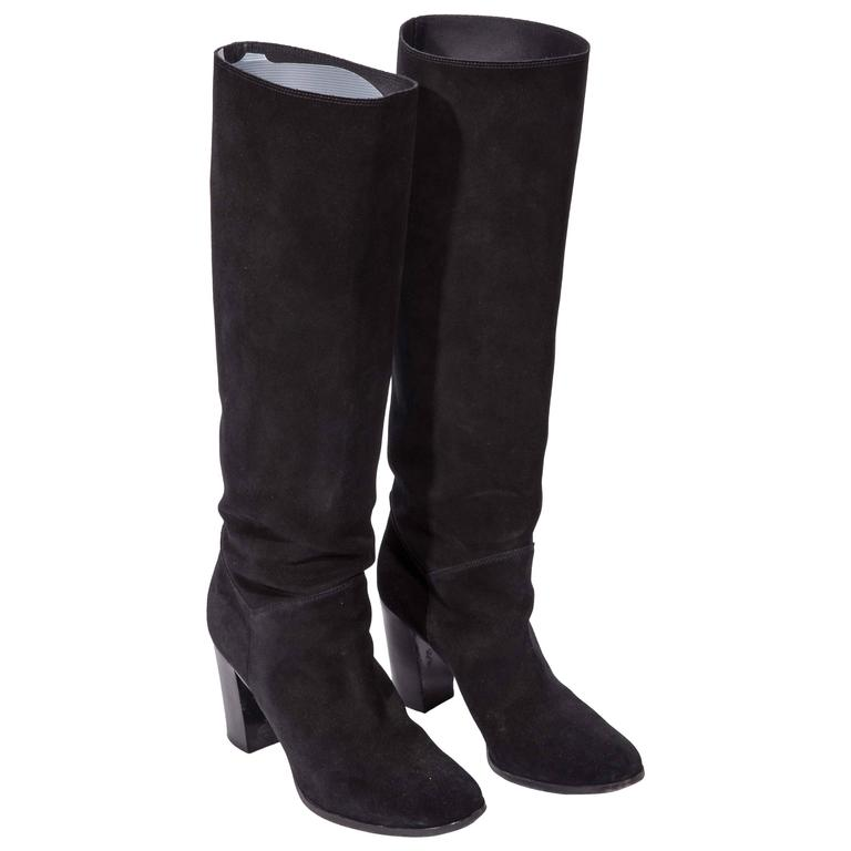 chanel black suede knee high boots size 40 10 at 1stdibs