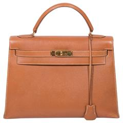 Hermes 32cm Gold Epsom Leather Kelly  with Gold Hardware