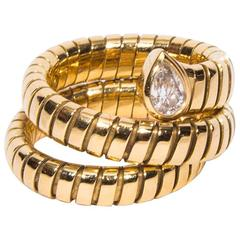 Bulgari Tubogas 18k Yellow Gold Serpentine Ring With Diamond - Size 6 1/2